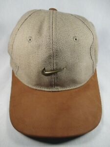 Nike Golf With Metal Logo Beige Adjustable Baseball Cap Hat Great Condition