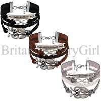 Vintage Multilayer Woven Leather Alloy Owl Braided Infinity Charm Wrap Bracelet