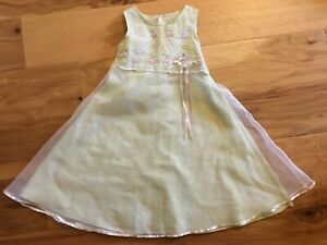 Bonnie Jean Light Mint Green/White Sleeveless Embroidered w/Bow Dress size 6