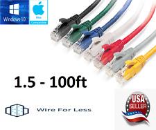 Cat5e Ethernet Cable Cord Lan Computer Rj-45 Patch 1.5-100Ft Network Lot
