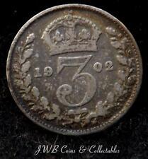 1902 Moneda de tres peniques plata Eduardo VII-Ref, JB1