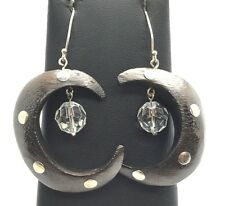 Sterling Silver 925 Cresent Moon Shape Wood Crystal Faceted Ball Dangle Earrings