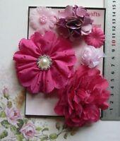 MAGENTA & PINK Mix - Organza Satin Lace 6 Flower Pk 25-80 mm Njoyfull Crafts G2