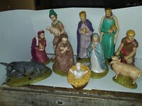 Vintage 1987 10pc Hand Painted Nativity Set(Christmas Manger Scene)marked CR87