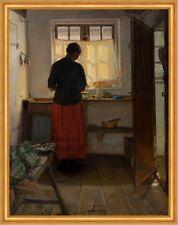 The maid in the kitchen Anna Ancher Dienstmädchen Fenster Küche Dorf B A1 00524