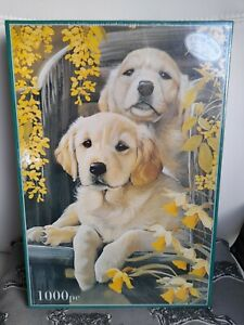OTTER HOUSE jigsaw puzzle Breath of Spring golden Labrador dogs flowers 1000 pc