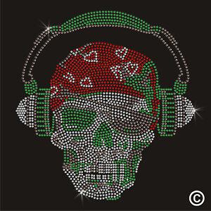 Military Headphone Skull Rhinestone Diamanté Transfer Hotfix (iron on motif)