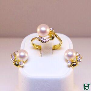 Brand New Pearl, Diamonds Earrings & Ring Set in 18k Yellow Gold