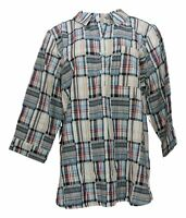 Joan Rivers Classics Collection Women's Sz L Plaid Tunic Top Blue A349225