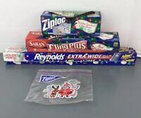 Vintage Christmas Ziploc Saran Cling Reynold Wrap Items Lot Holiday Themed RARE