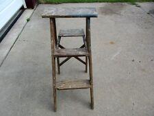 "vintage 2 Step Wood Ladder - Heavy Duty Primitive 15""x32"" - Estate Listing - Nr"