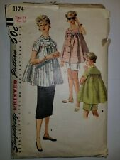Maternity Top Skirt Shorts Size 14 Pattern Sewing VTG 50's Simplicity 1174 Cut
