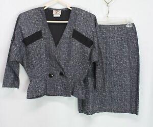 Vintage Byer Too! Women's 2PC Set Blazer & Skirt Black Size 5