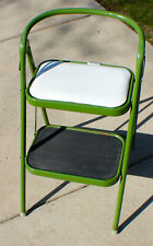 Vintage Ever-Ready Appl. MFG Folding Step Stool Kelly Green and White Midcentury