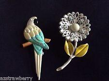 Vintage Lot of 2 Pastel color enameled metal Flower & Parrot bird  pin brooch
