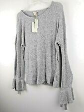 $89 NWT Lucky Brand Nico Chiffon-Hem Women Pullover Sweater Burgundy S L XL