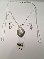 Pilgrim Damen-Set: Halskette und Ohrhänger versilbert Kristall