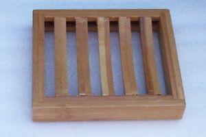 KINGSLEY - Bamboo Rectangular Draining Slotted WOOD SOAP DISH 4 Glycerin Soap