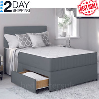 LUXURY Grey  Bed with Memory Foam Mattress & Headboard  4FT6 Double Divan home