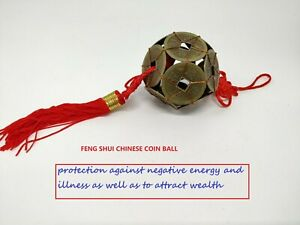 Chinese Feng Shui  I-Ching Coin Ball Protection Fortune Lucky Charm Red Tassel