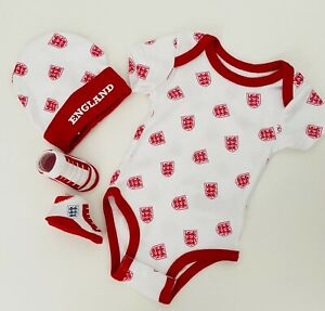 England Baby Vest Hat & Bootie Set England FA Football Baby Suit 0-3 Mths White