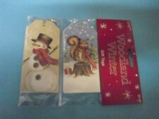 New ! 3 X 8 counts Pre-Strung Gift Tags Snowman & Foxes