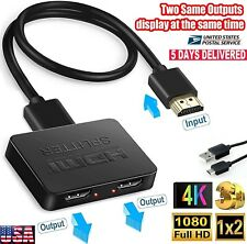 HDMI Splitter 1 Input 2 Output Dual Monitor 4K HD 3D Signal V1.4 Powered For PS4