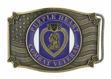 Purple Heart Combat Veteran US Military Enamel Bronze Metal Belt Buckle