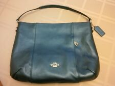 New Coach E/W Isabelle Metallic Blue Leather Shoulder Satchel $350 Crossbody