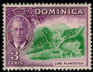 DOMINICA SG123, 3c green & reddish violet, VERY FINE USED.