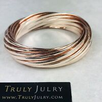 UK Ladies Luxury Designer Rose Gold Chunky Multi Bangle Bracelet Jewellery Gift