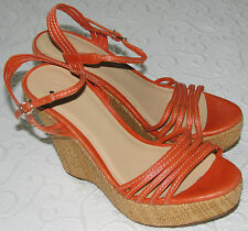 J Crew Sandal 9 Bette Wedge Strappy Sandals NWOB $168 Modern Red 83483 Orange