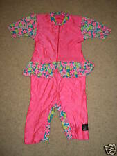 Girls Hot Pink FLower All-in-One Leotard Jumpsuit Sz M