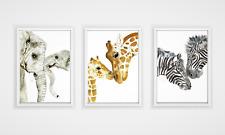 Mother and Baby Animal Print Set - neutral nursery prints, safari animals
