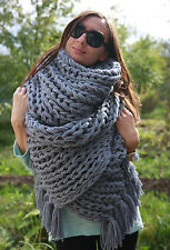 5 strands Soft Wool Extra thick SCARF hand knit Gray Men Women not mohair