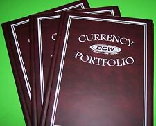 3 BCW CURRENCY BURGUNDY PORTFOLIO-10 PAGES FOR 30 BILLS- WITH FREE SHIPPING