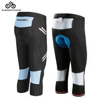 Cycling Pants 3/4 Sponge Padded Cycle Tight Shorts Stretch Cropped Trousers