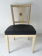 French Style Desk or Side Chair Black Leather Seat / Beige-Distressed Henredon