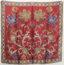 "TERRIART Burgundy, Navy, Gold Stylized Flowers 26"" Square Scarf-Vintage"