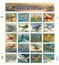 US STAMPS # 3142 a-t CLASSIC AMERICAN AIRCRAFT MINT SHEET 1997 32C