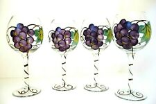 Hand painted Wine goblets Green Purple Grapes, set of 4, Gorgeous NWOT
