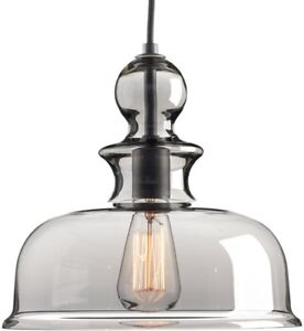 Pendant 12 in. W x 11-1/4 in. H 1-Light Steel Graphite Finish with Smoke Glass