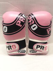 Pro Tech Boxing Gloves Pink, Black & White (Bag Gloves) 10 oz