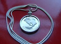 """Bunny Rabbit Coin Bezel Pendant on a 30"""" 925 Sterling Silver Snake Chain"""