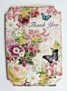 *PUNCH STUDIO Set of 6 Thank You Blank Note Cards~Swirl~Floral~Roses~Butterflies