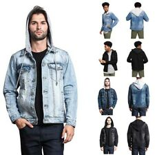 Victorious Men's Distressed with Removable Hoody  Wash Denim Jacket DK109
