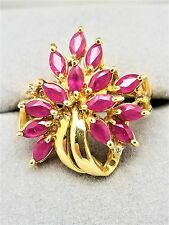 14K Yellow Gold Ruby Cocktail Ring
