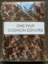 Rosebud Cushions Cases Sofa Bed Faux Silk Floral Cushion Covers One Pair Brown
