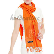 Men Women unisex 100% CASHMERE Soft Plain solid Orange Wool Scarf