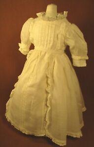 "Vintage Doll Dress for 16""-17"" Bisque Doll - Ivory Batiste w/Lace Panels"